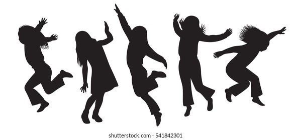 Vector illustration. Silhouettes of children playing isolated on white background.