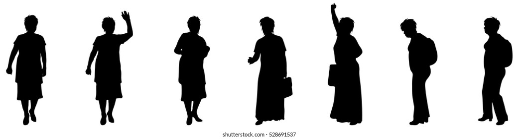 Vector illustration silhouettes elderly woman on white background