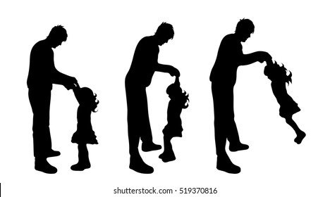 Vector illustration silhouettes of family on white background.