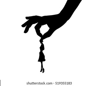 Vector illustration silhouettes of hand holding woman