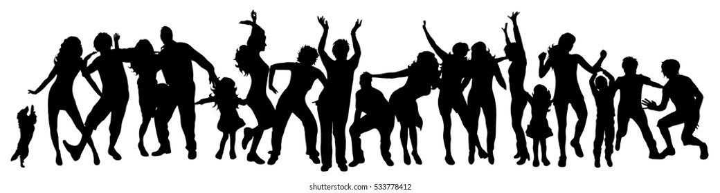 Vector illustration silhouettes happy dancing people on white background