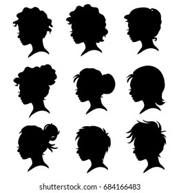 Vector illustration of a silhouettes head girls.