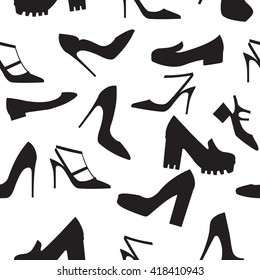 Vector illustration of silhouettes of modern shoes on white background. Shoes icons set. Seamless pattern. Flat design