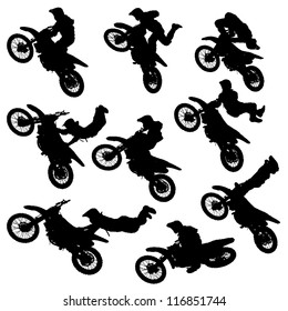 vector illustration silhouettes of motorcycle jumping - set of motocross freestyle jump isolated