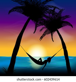 Vector illustration of silhouettes of palm trees and a woman in a hammock on a background sunset. Tropical vacation.
