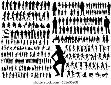 Vector, illustration, silhouettes people, collection, girls, men, children, silhouettes people dancing