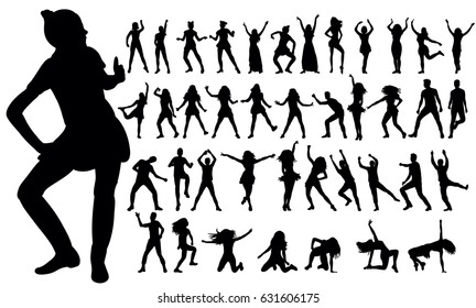 Vector, illustration, silhouettes people dancing, collection