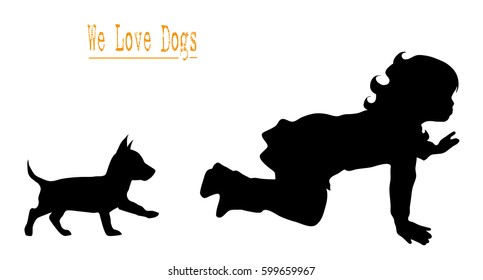 Vector illustration silhouettes of people and dog