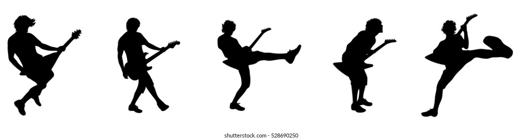 Vector illustration silhouettes people with electric guitar
