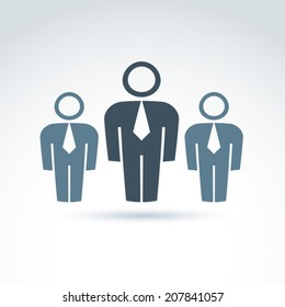 Vector illustration of silhouettes of people standing in front - teamwork concept.  Delegation group with a chief leader, white-collar workers.