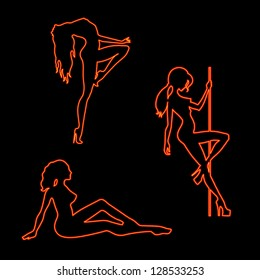Vector illustration of silhouettes pole dancers sexy girls
