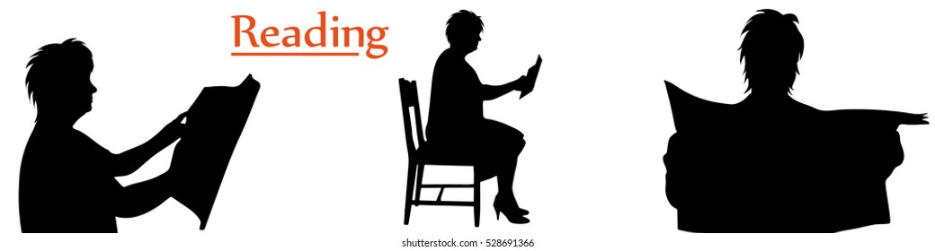 Vector illustration silhouettes reading woman on white background