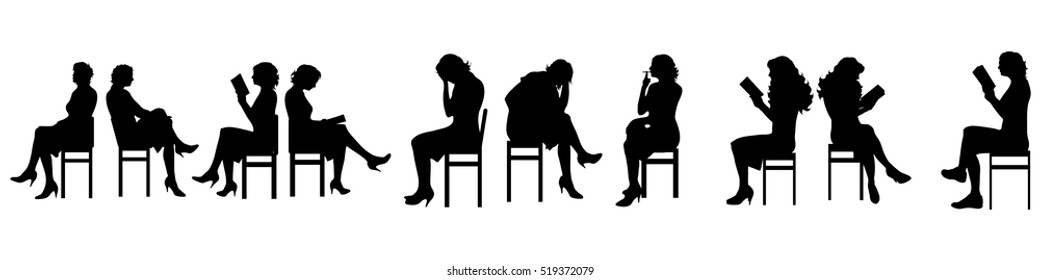 Vector illustration silhouettes of sitting people on white background