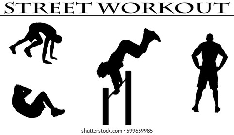 Vector illustration silhouettes of street workout people