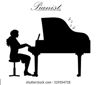 Vector illustration silhouettes of woman play piano