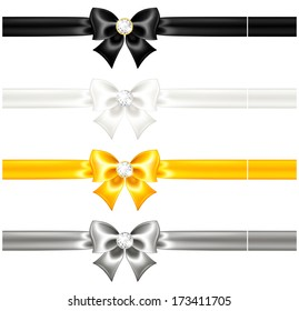 Vector illustration - silk bows black and gold with diamonds and ribbons. Created with gradient mesh and blending modes.