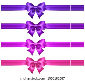 Vector illustration - silk ultra violet and pink bows with ribbons for greeting cards, business cards and gift cards