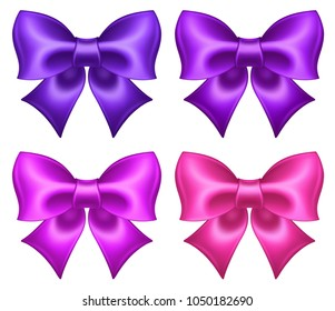 Vector illustration - silk ultra violet and pink bows for greeting cards, business cards and gift cards