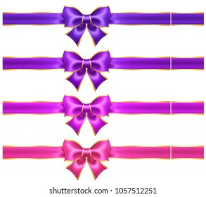 Vector illustration - silk ultra violet and pink bows with golden border and ribbons for greeting cards, business and gift cards