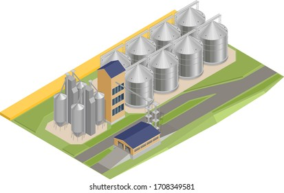 Vector illustration of a silo with grain, elevator, granary, factory. Isometry