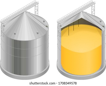 Vector illustration of a silo with grain in a section, a diagram of the elevator device, a granary. Isometry