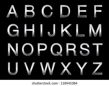 Vector illustration of a silver alphabet.