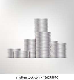 Vector illustration of silver coins. Design element. Easy to edit and use for business banners.
