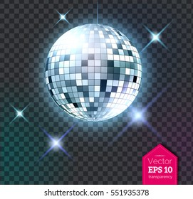 Vector illustration of silver disco ball with discotheque lights isolated on transparent background.
