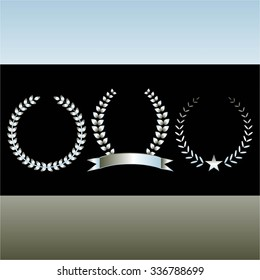 Vector illustration of Silver elements of design awards and seals on a black silver background - star, ribbon, laurel wreath,  ears of wheat.