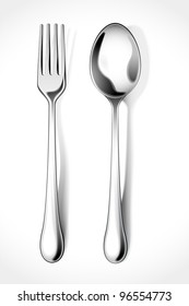 vector illustration of silver fork and spoon