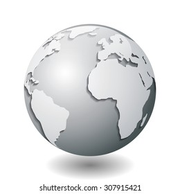 Vector illustration of a silver globe with white continents