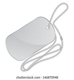 Vector illustration of silver identity tag