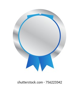 Vector illustration of silver medal isolated on the white background