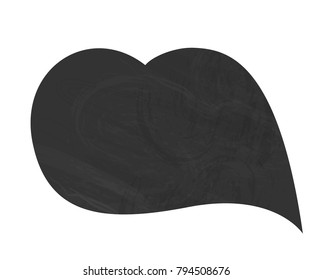 Vector illustration: simbolic black heart icon with chalkboard texture isolated on white background for Valentine's Day decoration.
