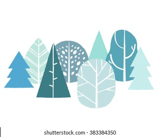 Vector illustration with simple abstract trees. Cute forest print pattern background