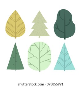 Vector illustration with simple abstract trees. Forest background.