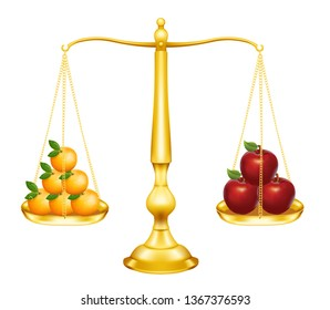 vector illustration of simple balance with fruits concept