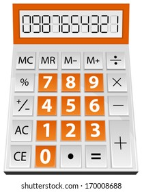 Vector illustration of simple calculator isolated on white