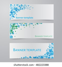 Vector illustration  of Simple colorful horizontal banners - with square motif