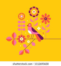 Vector illustration in simple flat geometric and linear style in bright colors - decorative flowers, leaves and bird - design element for wedding invitations, covers, banners, packaging