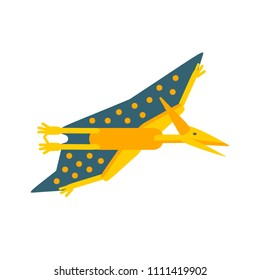 Vector illustration. Simple flat style icon of Pteranodon. Pictogram of pterosaur for print on t-shirt or design card.