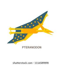 Vector illustration. Simple flat style icon of Pteranodon with text. Pictogram of pterosaur for print on t-shirt or design card.