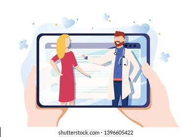 Vector illustration in simple flat style - online and tele medicine concept - hands and screen with app for healthcare - online consultation with doctor. Doctors examining a patient using medical app