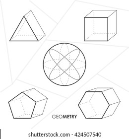 Vector illustration. Simple geometric figures: triangle, circle, square, pentagon and hexagon. White modern background