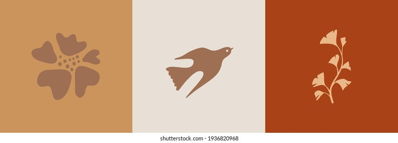 Vector illustration in simple hand drawn and linocut style - natural print, poster or logo design template - spring illustration - birds and flowers