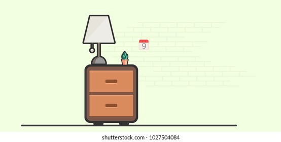 Vector illustration of simple home design. lockers tree lamp