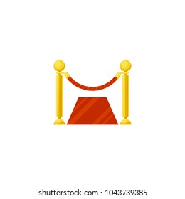 Vector illustration, simple icon of a rope barrier and a red carpet isolated on a white background
