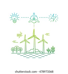 Vector illustration in simple linear flat style - alternative and renewable energy - wind-powered electrical generators with landscape - infographics design elements