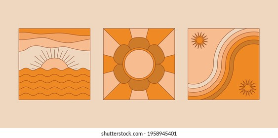 Vector illustration in simple linear style - design templates - hippie style - frames and prints with copy space for text