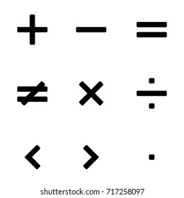 Vector illustration simple math symbols, signs set, collection in black color isolated on white background.